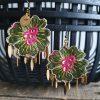 Boucles d'oreilles BIG FLOWERS INDIA ROSE-VERT-DORE