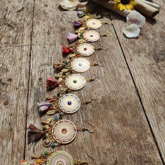 Collection MANDY - Boucles d'oreilles MANDY -Fraicheur d'été, tournesols, libellules, abeilles & pompons liberty- un vent de légèreté