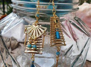 Boucles d 'oreilles de la Collection PYLA - L'atelier de moka - Doré & Turquoise pour L'ETE