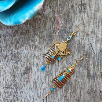 Boucles d 'oreilles - PYLA - Dune de légèreté, asymétrique doré & turquoise